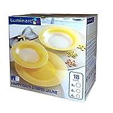 Service Komplett-Teller 18Stück Set für 6Personen der Luminarc Happy Stripes Jaune Gelb mit Dekor Opalglas Arcopal
