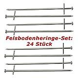 ToCi Felsbodenheringe 23 cm Stahl verzinkt  Zelthering Zeltnagel Erdnagel Felsnagel für harte und steinige Böden  Heringe Set: 24 Stück