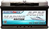 AGM Batterie 120AH Electronicx Marine Edition Boot Schiff Versorgungsbatterie 12V Akku Deep Bootsbatterie Autobatterie Solarbatterie Solar Batterien