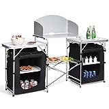 COSTWAY Campingküche klappbar Reiseküche Campingschrank Küchenbox Zeltschrank Alu mit Tragetasche (4 Fächer & 3 Bretter)