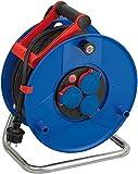 Brennenstuhl Garant IP44 Gewerbe-/Baustellen-Kabeltrommel, 40m - Spezialkunststoff (Baustelleneinsatz und ständiger Einsatz im Außenbereich, Made in Germany) blau, 1208380, Rouge/Noir/Bleu