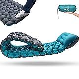 RUNACC Isomatte Camping Selbstaufblasbare Campingmatte - Verbreiternde & Verdickte Aufblasbare Isomatte Schlafmatte Camping Matratze Outdoor Luftmatratze für Camping | Wandern(Grau&Blau)