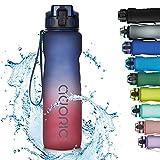 Adoric Trinkflasche 1000ml Auslaufsichere BPA-frei Outdoor Sportflasche aus Tritan Wasserflasche Kinder für Sport Fitness Fahrrad Rot Blau