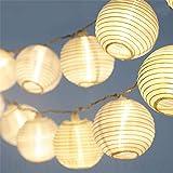 CozyHome LED Lampion Lichterkette außen mit Timer - 7 Meter   Mit Netzstecker NICHT batterie-betrieben   auch für Innen   20 LEDs warm-weiß   Kein lästiges austauschen der Batterien   LED Lampions