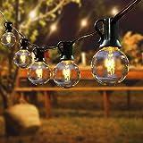 Lichterkette Außen, FOCHEA Lichterkette Glühbirnen G40 15m 56er Globe Birnen Lichterkette Garten für Weihnachten Hochzeit Party Aussen Dekoration Warmweiß