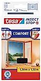 tesa Insect Stop COMFORT Fliegengitter für Fenster - Insektenschutz mit Klettband selbstklebend - Fliegen Netz ohne Bohren - anthrazit (durchsichtig), 130 cm x 150 cm