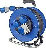 as - Schwabe Camping Kabeltrommel 25m mit CEE-Stecker inkl. neuer powerlight Spannungsanzeige, 3 Steckdosen mit Klappdeckeln, für Outdoor-Einsatz mit IP44, Blau | 10176