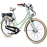 CHRISSON 28 Zoll E-Bike City Bike für Damen - EH1 mintgrün mit 7 Gang Shimano Nexus Nabenschaltung - Pedelec Damen mit Ananda Vorderradmotor 250W, 36V, 40 Nm, Retro Elektrofahrrad Damen