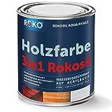 Holzfarbe Rokosil in Weiss - 0,7 Kg - Seidenmatt - Holzanstrich für Außen - 3in1 Grundierung & Deckfarbe - Langlebig & Robust - Wetterschutzfarbe, Landhausfarbe, Holzlack, Dachfarbe