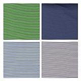 Sylter Nähkultur Bündchen Paket Ringelbündchen Starterset Mix-Paket 4x25x70 cm Schlauchware Grau/Hellgrau, Kiwi/grün, Navy Striped, Indigo Striped (EUR 13,50/ Meter)