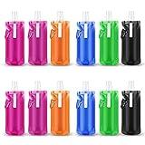 Sunshine smile trinkflaschen faltbar,Wiederverwendbare Faltbare Wasserflasche,Fahradflasche,Sportflasche,Trinkbeutel Trinkblase,Faltbare Wasser Tasche mit Clips (6 Pack)