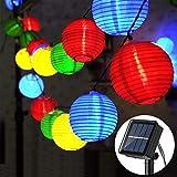 Solar Lichterkette Aussen Lampions - Zodight 6,5M LED Lichterkette Solar Außen, 8 Modi Solar Lichterketten Laterne IP65 Wasserdichte für Innen/Außen, Garten, Balkon, Hof, Fest Deko(Mehrfarbig)