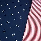 Jersey Anker dunkelblau & Bündchen rot-weiß Ringel Breite 70cm (Schlauchware 2x35cm) Muster-Mix 95% Baumwolle 5% Elastan Muster-Mix