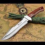 NedFoss Fahrtenmesser Rambo Messer| Survival Messer Camping Jagdmesser|Outdoormesser Gürtelmesser Überlebensmesser - aus einem Stück 5Cr13Mov Stahl, Vergrößerte Version