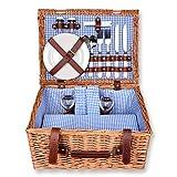 Schramm® Picknickkorb 40x30x20cm rechteckig aus Weidenholz für 2 Personen Picknickkoffer Picknickset Picknick Korb innen blau kariert