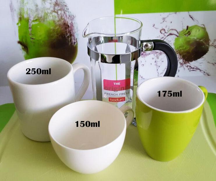 Bodum French Press Kaffeebereiter Bodum Camping Kaffeebereiter-300ml Tassengrößen im Vergleich