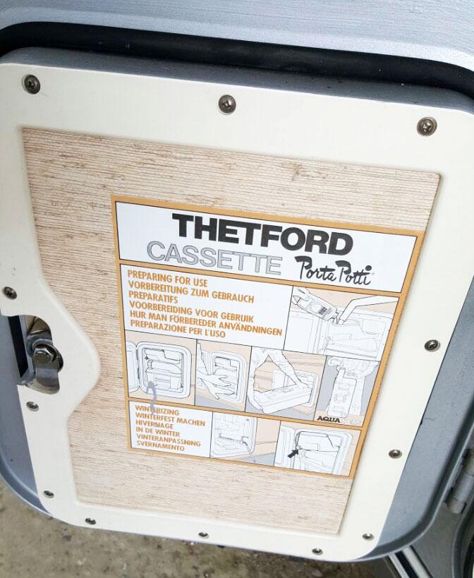 Innentürbeschreibung an der Serviceklappe für die Thetford Camping Toilette