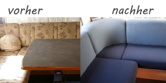 polster f r wohnwagen neu beziehen ohne selber n hen einfacher trick. Black Bedroom Furniture Sets. Home Design Ideas