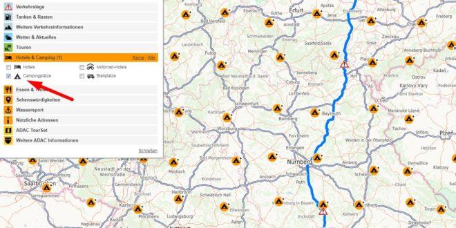 adac Maps Routenplaner mit Campingplätzen