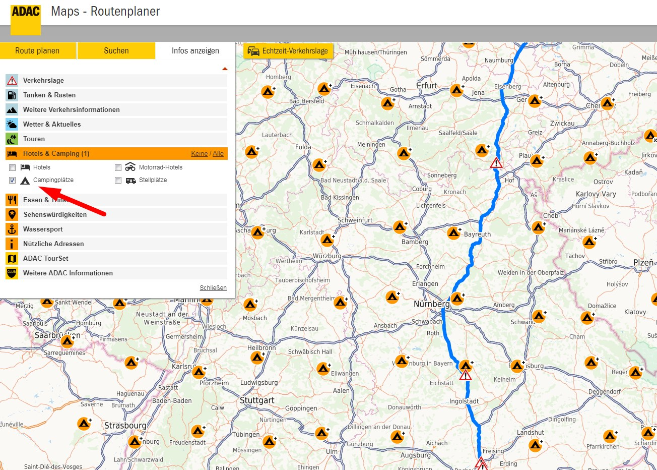 Camping Route planen - Routenplaner für Campingplätze