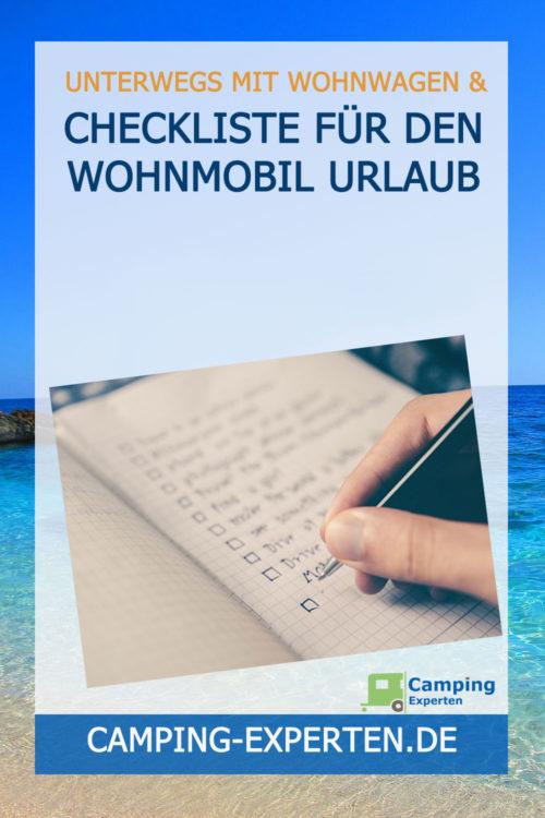 Checkliste für den Wohnmobil Urlaub