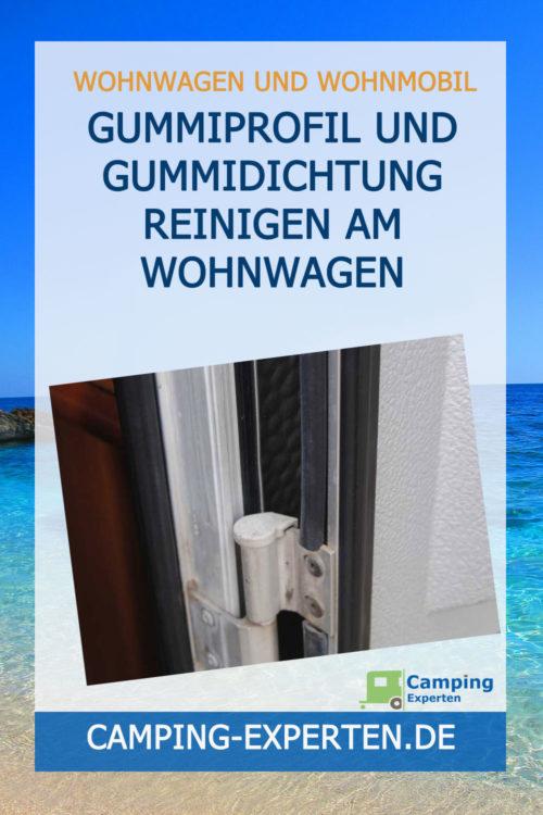 Gummiprofil und Gummidichtung reinigen am Wohnwagen